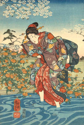 Japanese Print The Ide Tama River in the Province of Yamashiro by Utagawa Kuniyoshi II 1847 Art