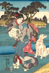 Japanese Print The Toi Tama River in the Province of Settsu by Utagawa Kuniyoshi Art