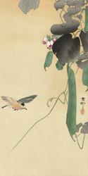 Bird at Flowering Bean Plant by Ohara Koson Japanese Woodblock