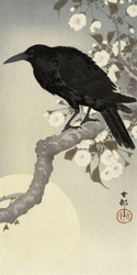 Crow at Full Moon by Ohara Koson Japanese Woodblock