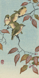 Birds on Autumn Branch by Ohara Koson Japanese Woodblock