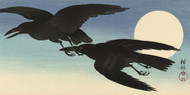 Crows in Full Moon by Ohara Koson Japanese Woodblock