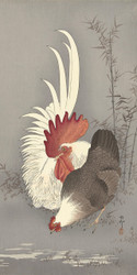 Rooster and Chicken by Ohara Koson  and Matsuki Heikichi Japanese Woodblock