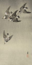 Sparrows in the Rain by Ohara Koson and Matsuki Heikichi Japanese Woodblock