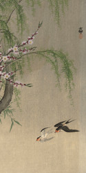 Swallows in Flight by Ohara Koson and Matsuki Heikichi 1900 1930 Japanese Woodblock