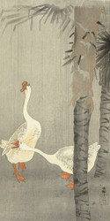 Tame Geese in Rain by Ohara Koson 1900 1936 Japanese Woodblock