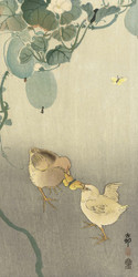 Two Chicks Fighting for A Butterfly by Ohara Koson and Akiyama Buemon 1900 1910 Japanese Woodblock