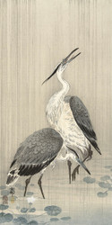 Two Herons in the Rain by Ohara Koson Japanese Woodblock
