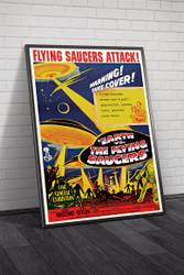 Earth vs The Flying Saucers 1956 Australian Movie Poster Framed