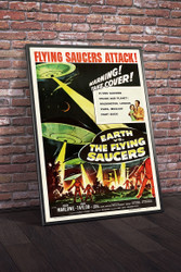 Earth vs The Flying Saucers 1956 III Movie Poster Framed
