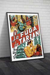 Tarzan Escapes 1936 Spanish Movie Poster Framed