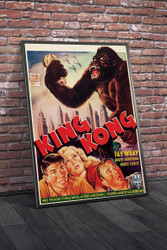 King Kong 1950s Belgian Movie Poster Framed