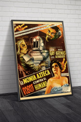 Robot Vs  The Aztec Mummy 1958 Mexican Movie Poster Framed