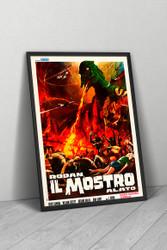 Rodan The Flying Monster 1968 Italian Movie Poster Framed