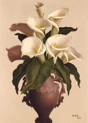 Calla Lilies In Vase By  R Hill Floral Print