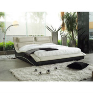 King size Modern Cream Black Faux Leather Upholstered Platform Bed w/Headboard NBCB519841541