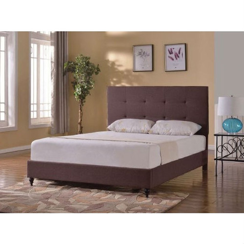 Twin Brown Linen Upholstered Platform Bed with Tufted Headboard TBLPB51981