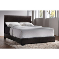Queen size Dark Brown Faux Leather Upholstered Bed with Headboard CFQ1915151