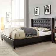 Queen size Black Faux Leather Upholstered Bed with Wingback Headboard QBW519815814