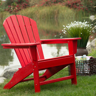 Outdoor Patio Seating Garden Adirondack Chair in Red Heavy Duty Resin BLAWBD5814