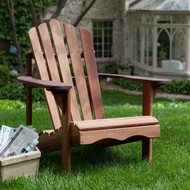 Ergonomic Outdoor Patio Adirondack Chair in Red Shorea Wood BLRD66884