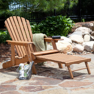 Oversized Classic Adirondack Chair with Pull-Out Ottoman in Natural OACN66557