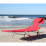 Red Chaise Lounge Beach Chair with Face Cavity and Arm Slots CLBE5198415