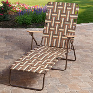 Outdoor Retro Beach Chair Chaise Lounge in Brown and Cream RDWCL518914