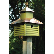 Pinion Green Birdhouse with White / Bright Copper Roof and Rooster Top HRBHPGW