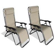 Set of 2 - Zero Gravity Indoor/Outdoor Chairs in Beige ZGCBSO2