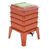 Terra Cotta Composter Worm Compost Bin Made from Food Grade Plastic WFTC871563