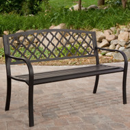 4-Ft Metal Garden Bench with Bronze Highlights over Antique Black Finish C4FTGB10998