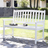 4-Ft Garden Bench with Curved Back and Armrests in White Wood Finish CBC85497162