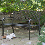 4-Ft Curved Back Metal Garden Bench, Weathered Black, Antique Bronze Highlights CBFMGB8198451
