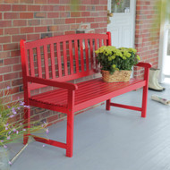 5-Ft Outdoor Garden Bench in Red Wood Finish with Armrest CPB5FT15183