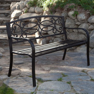 4-Ft Metal Garden Bench in Antique Black Finish CS4FGB11298