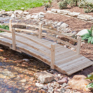 12-Ft Wooden Garden Bridge with Rails in Unfinished Fir Wood WGBH5187741