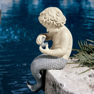 Young Little Sitting Mermaid Garden Statue with Oyster and Pearl OM54857153