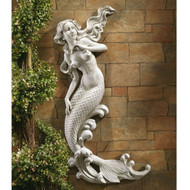 Outdoor Patio Wall Decor Mermaid Wall-Mounted Garden Statue TMCW9086151