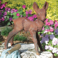 Baby Deer Fawn Brown Metal Outdoor Garden Statue FDBSD541841