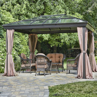12-ft x 16-ft Year-Round Use Gazebo with UV Blocking Panels Canopy and Curtains GFSC186951815