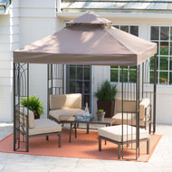 8-Ft x 8-Ft Steel Frame Gazebo with Outdoor Weather Resistant Top Vent Canopy CPGEB65481541