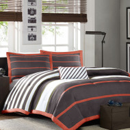 Full/Queen Bed Bag Comforter Set in Dark Gray Orange White Stripes MACF538851