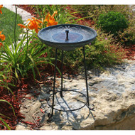 Matte Black Bowl Solar Fountain Bird Bath with Wrought Iron Stand SVG688145