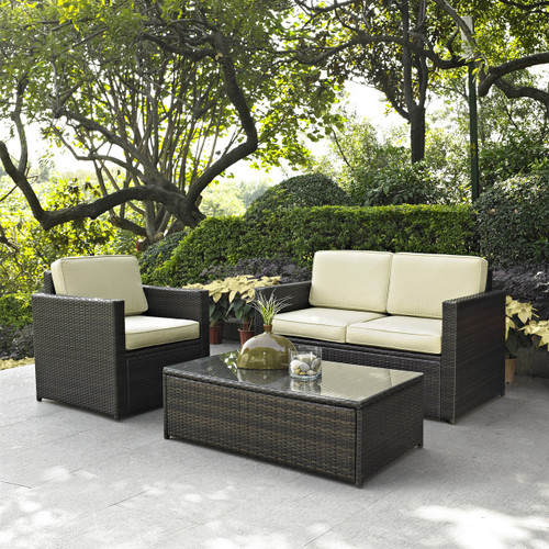3-Piece Outdoor Patio Furniture Set with Chair Loveseat and Cocktail Table C3PS57630