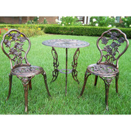 3-Piece Outdoor Bistro Set with Rose Design in Antique Bronze Finish OL3PB13103