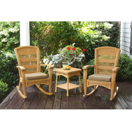 3PC Outdoor Porch Rocker Set w/ 2 Amber Wicker Resin Rocking Chairs & Table T3PR46377