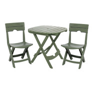 3-Piece Fast Fold Outdoor Furniture Bistro Set in Sage Green AQCBS899