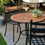 3-Piece Black Metal Patio Bistro Set with Terra Cotta Tiles CMBS5198151