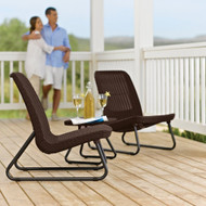 3-Piece Outdoor Patio Furniture Set in Brown Woven Rattan Resin K3PFS9113815